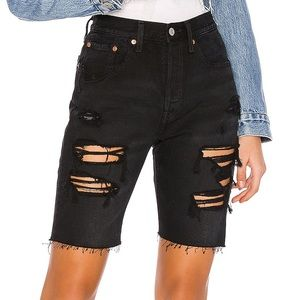 Levi's Distressed High Waist Slouch Shorts